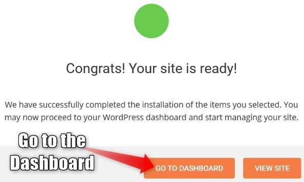 Wordpress setup wizard completed