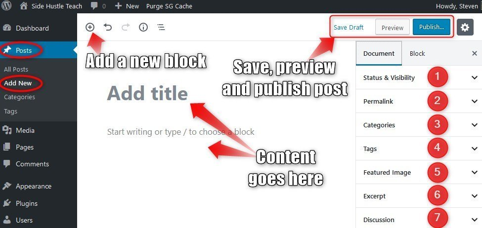 Create a new post WordPress