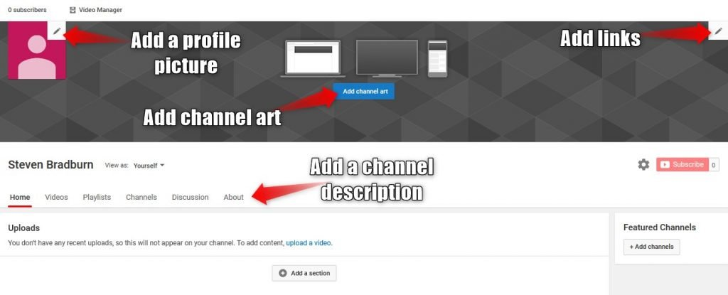 What to customize on a YouTube channel