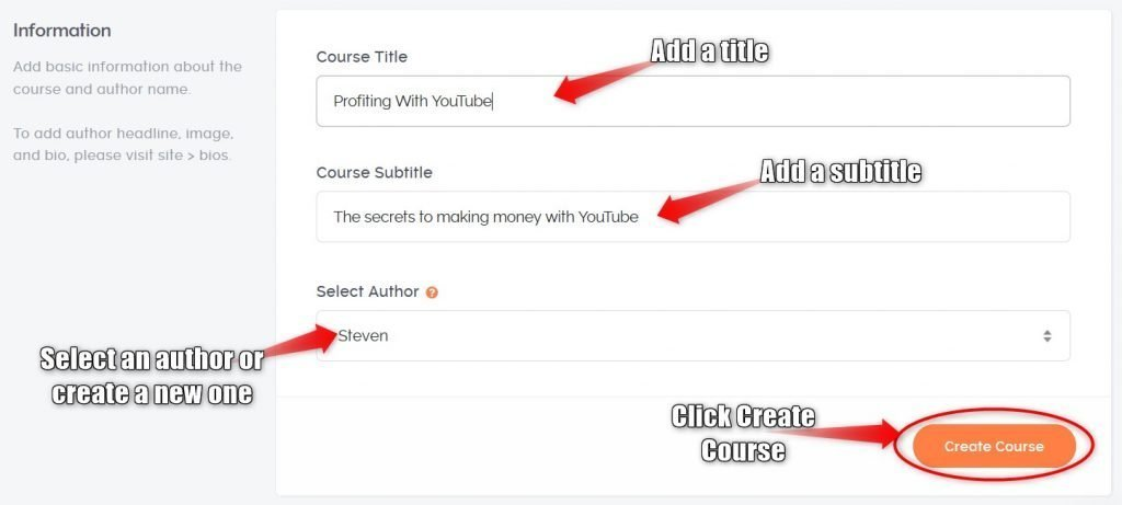 Teachable add a course title and subtitle