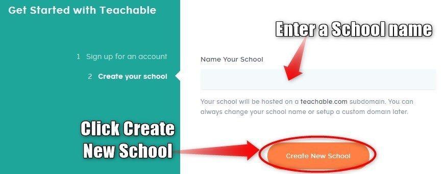 Teachable create a School name