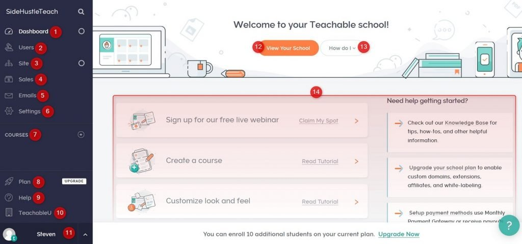 Teachable dashboard overview
