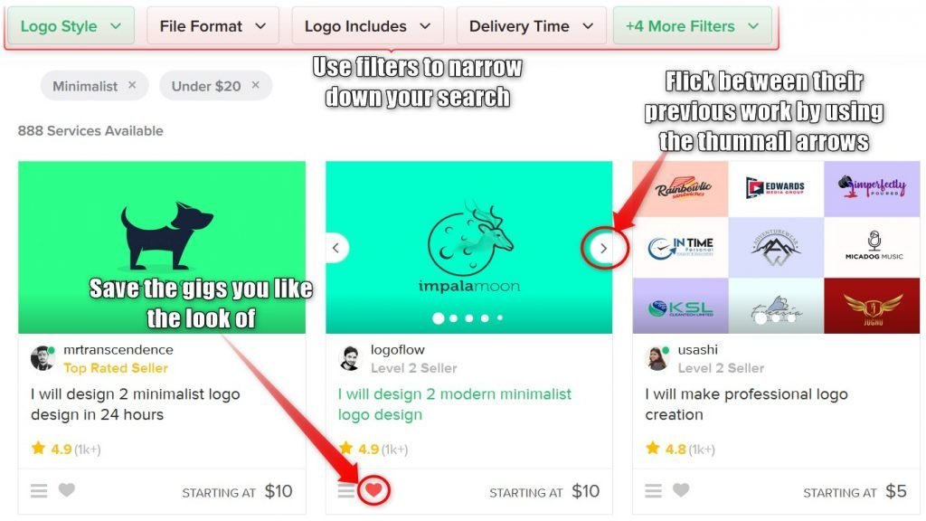 Fiverr narrowing down your logo search