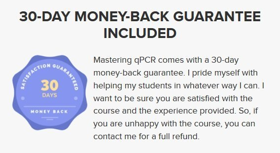 Online course money-back guarantee example