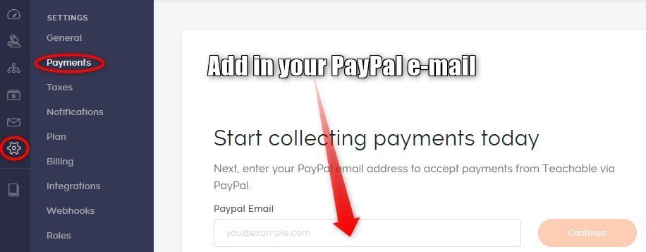 Teachable settings payment PayPal account