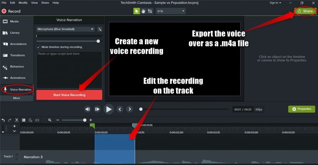 Recording a voice over in Camtasia