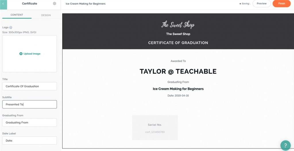 Teachable course completion certificate