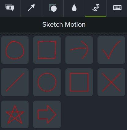 Camtasia Sketch Motion annotation