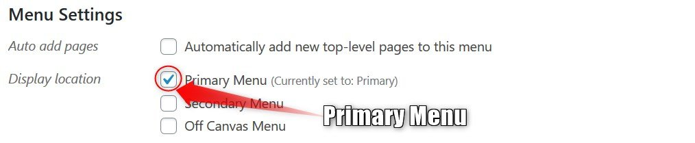 Making a primary menu in WordPress