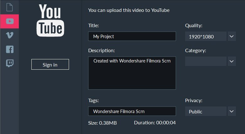 Filmora Scrn export YouTube