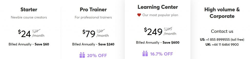 LearnWorlds pricing