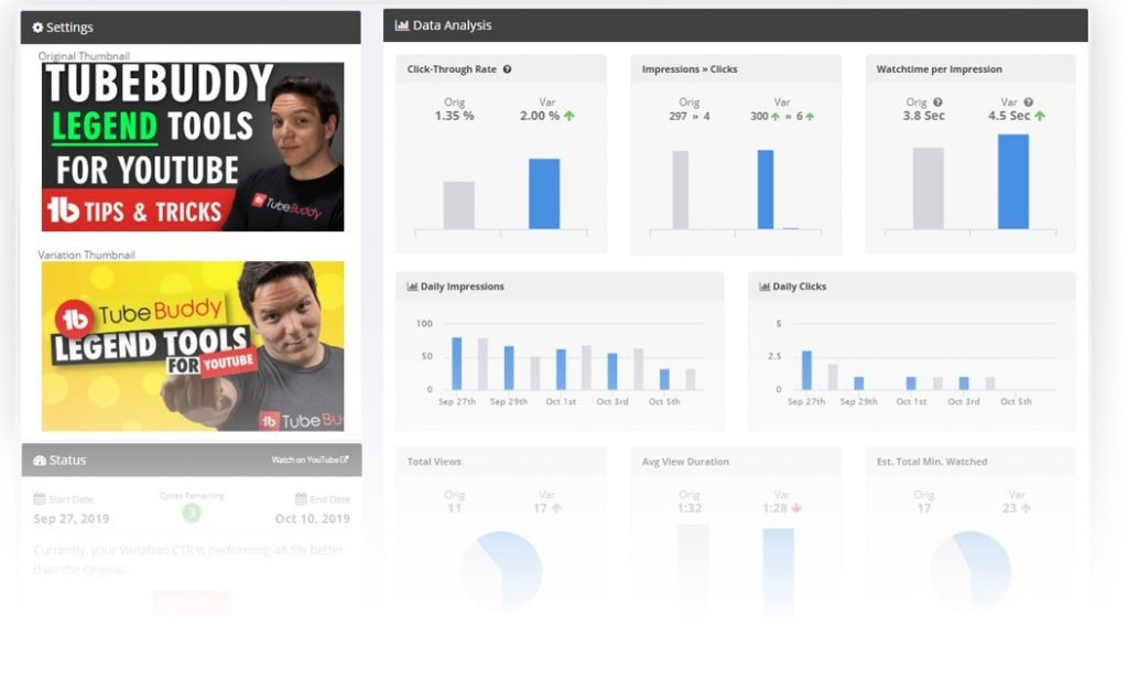 TubeBuddy Video SEO A/B tests
