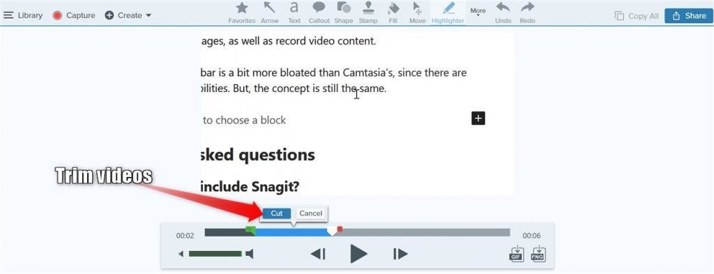 Snagit video editor