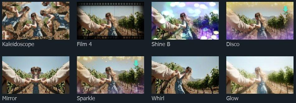 Filmora X video effect examples