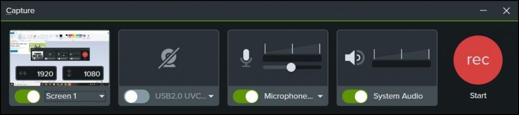 Camtasia 2021 recording toolbar