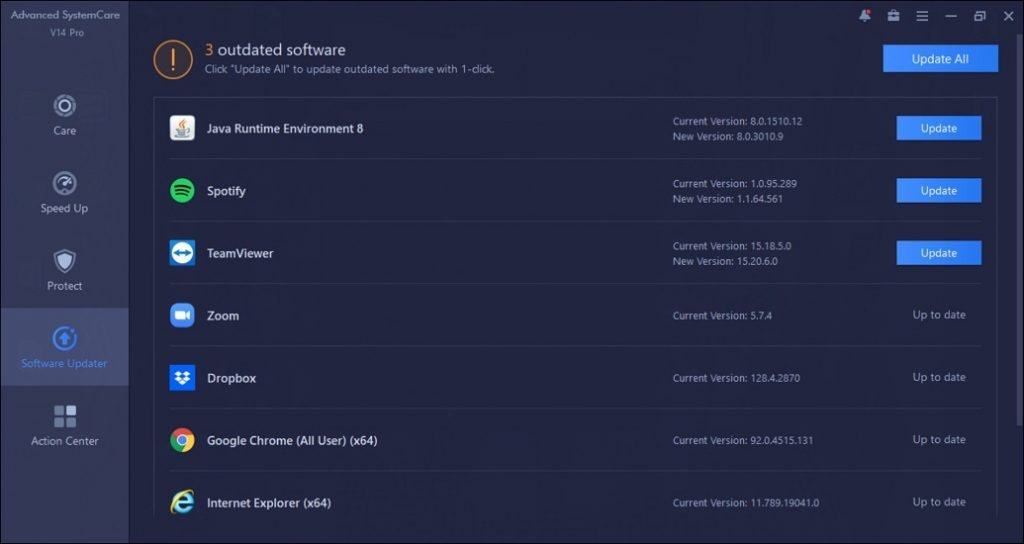 IObit Advanced SystemCare PRO Software Updater