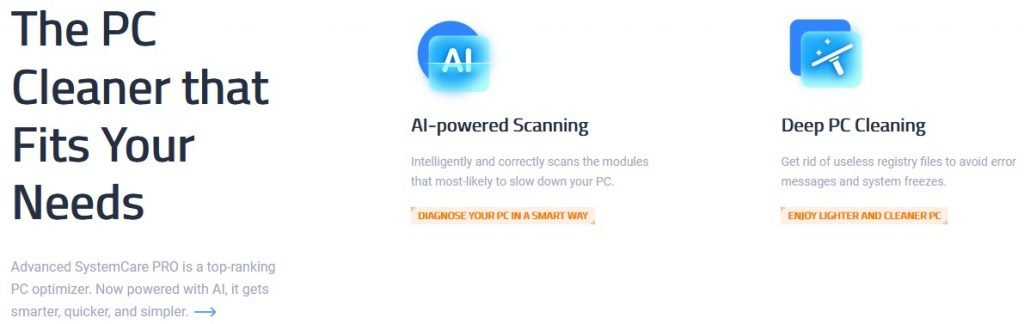 IObit Advanced SystemCare PRO homepage