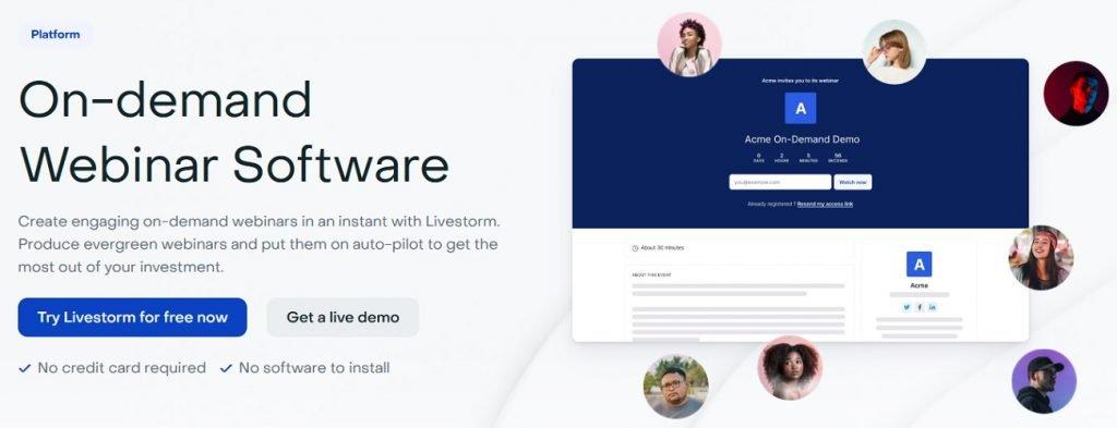 Livestorm on-demand webinar homepage