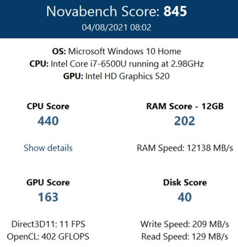 Novabench score before IObit Advanced SystemCare PRO